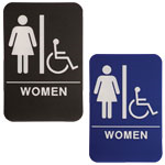"Women ADA Compliant Sign with Wheelchair, 6"" x 9"""