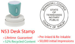 Tennessee Round Notary Desk Stamp