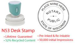Wisconsin Round Notary Desk Stamp