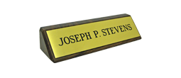 Brass Plate Mounted on Walnut Block