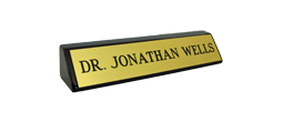 "28RWBRASS - 2"" x 8"" Brass Name Plate Mounted on Rosewood Block"