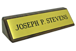 "28WBB - 2"" x 8"" Brass Name Plate Mounted on Walnut Block"