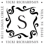 Square Monogram Pre-Inked Stamp